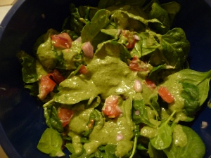 Spinach salad with Basil Almond Dressing